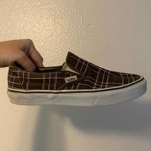 Vans | Brown Checkered Plaid Slide-on Shoes 7.5 9